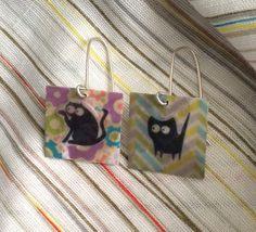 Cat earrings, square earrings, fun earrings by SamsabyElena on Etsy