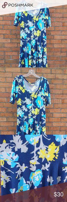 lularoe nicole dress BEAUTIFUL lularoe blue nicole dress with light blue, yellow and light green flowers in size large LuLaRoe Dresses