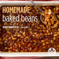 Try this recipe for a quick version of homemade baked beans using canned Northern beans. Bushs Baked Beans Recipe, Pork And Beans Recipe, Simple Baked Beans Recipe, Baked Beans From Scratch, Canned Baked Beans, Baked Beans Crock Pot, Slow Cooker Baked Beans, Homemade Baked Beans, Baked Bean Recipes