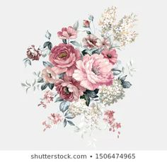 Watercolor floral elements | Stock Photo and Image Collection by Miss Lychee | Shutterstock Flower Images, Flower Art, Watercolor Illustration, Floral Watercolor, Baroque Decor, Decoupage Printables, Beautiful Rose Flowers, Birth Flowers, Fashion Design Drawings