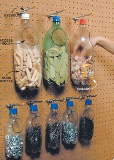 31 Garage Organization Ideas…to whip yours into SHAPE! 31 Garage Organization Ideas…to whip yours into SHAPE! Diy Recycled Storage, Recycling Storage, Storage Shed Organization, Garage Workshop Organization, Garage Tool Storage, Workshop Storage, Garage Tools, Garage Shelving, Pegboard Garage