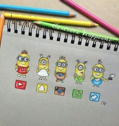 Minions dressed as Social Media! App Drawings, Drawing Sketches, Sketch Art, Cute Disney Drawings, Cute Drawings, Amazing Drawings, Amazing Art, Social Media Art, Medium Art