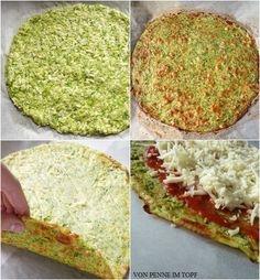 {Low Carb} Zucchini Crust Pizza  [(make w/Feta and ground beef, like Kelsey's pizza)  For the crust, this is what I do: Take 3 cups of shredded zucchini (I lightly salted it and let it drain for a couple of hours) 3 eggs  1/3 cup parmesan  Mix all this together and spread in a greased pan.  Bake on 450 for 8 minutes. Top it and rebake]