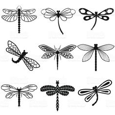 Dragonflies, black silhouettes on white background royalty-free stock vector art