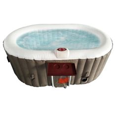 Oval Inflatable Hot Tub Spa With Drink Tray and Cover - 2 Person - 145 Gallon - Brown and White Traditional Hot Tubs, Drinks Tray, Safety Cover, Spray Foam, Deep Relaxation, Sit Back And Relax, Refreshing Drinks, Spa, Brown