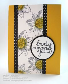 handmade card using Petal Potpourri ... card created by Dawn Olchefske ... simple layout but looks more complicated because of the wide polka dot mat ... great card! ... Stampin' Up!