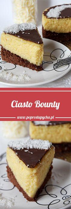 Czekoladowy biszkopt, słodka, budyniowa masa kokosowa i polewa z czekolady mlecznej… Ciasto zostało odwzorowane na popularnym batoniku Bounty. Smakuje podobnie, a może nawet i lepiej niż batonik :) Jedliście kiedyś? #poprostupycha