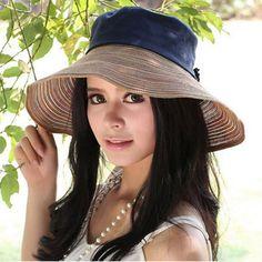 Fashion cotton straw splice sun hat for women summer package straw hats