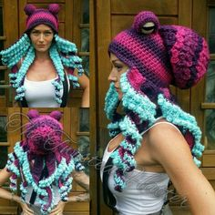 Paint girl with octopus on head? Really awesome Crochet Pink & Purple Octopus … Paint girl with octopus on head? Really awesome Crochet Pink & Purple Octopus hat Crochet Twist, Free Crochet, Double Crochet, Knit Crochet, Simple Crochet, Funny Crochet, Crochet Amigurumi, Crochet Beanie, Crochet Crafts