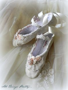 Bridal Wedding ballet slippers leather Custom by mercedesDscott