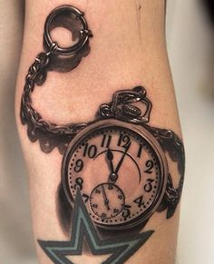 3D pocket watch on arm - 40 Awesome Watch Tattoo Designs  <3 <3