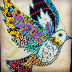 Mixed media animal Zentangle by 8th grader Destiny A.