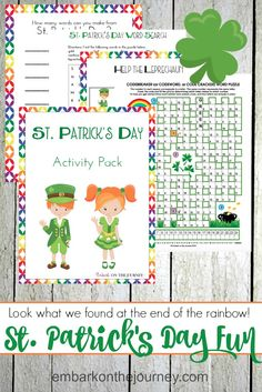 Your kids will feel so lucky when you add this St Patricks Day printable activity pack to your homeschool lessons! It's full of puzzles and games for kids.   @homeschljourney via @letsembark