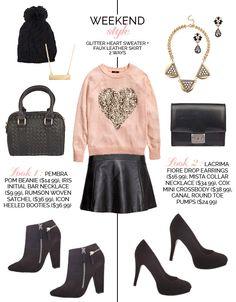 Weekend Style Glitter Heart Sweater