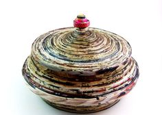 Recycled Paper Vase 5 inches tall -conversational piece - first anniversary - storage
