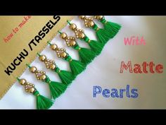 SARRE KUCHU TUTORIAL USING MATTE PEARLS /Design #41 - YouTube Saree Tassels Designs, Saree Kuchu Designs, Bridal Blouse Designs, Blouse Neck Designs, Pinstriping, Beadwork Designs, Embroidery Designs, Hand Embroidery, Machine Embroidery