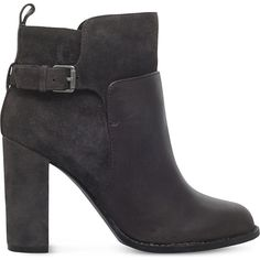 NINE WEST Quinah buckled leather boots (765 RON) ❤ liked on Polyvore  featuring shoes