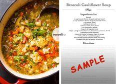 broccoli-cauliflower-soup-sample Vegetarian Soup, Healthy Soup, Vegetarian Recipes, Healthy Eating, Healthy Recipes, Keto Soup, Protein Recipes, Diet Recipes, Clean Eating