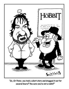 Cartoon for The Jewish News by Paul Solomons. Peter Jackson and the Hobbit.