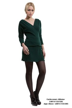 Top Athena: Long sleeves crossover neckline top. Color: Green  Skirt Dove: Wrap around style skirt Color: Green  www.les-nguyen.com