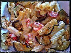 Kiosko di frutti di bosco: Rigatoni philadelphia alle olive con melanzane grigliate