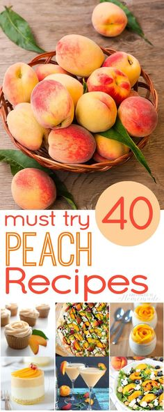 40 Delicious Must Try Peach Recipes - Happiness is Homemade. I pinned some of these separately but wanted to have the whole list to refer to. Fruit Recipes, Summer Recipes, Dessert Recipes, Cooking Recipes, Nutella Recipes, Healthy Recipes, Fresh Peach Recipes, Recipes With Peaches, Gourmet