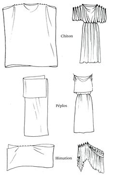 Vêtements Grèce classique : chiton, péplos, himation - maybe make the himation with the chiton for the sari