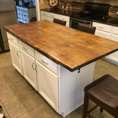 Live edge kitchen island countertops made to order. I have different wood available such as poplar, red oak, cherry, black walnut. Will deliver countertop to a 6 hour drive from Charleston, WV. Please contact me for delivery options. Rustic Kitchen Cabinets, Refacing Kitchen Cabinets, Diy Kitchen Island, New Kitchen, Kitchen Decor, White Cabinets, Wood Kitchen Countertops, Primitive Kitchen, Live Edge Countertop
