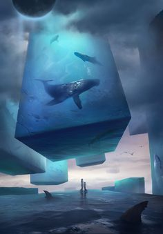 The Dream of the Sea Art by Liu Cixin February 07 2019 at Fantasy Concept Art, Dark Fantasy Art, Fantasy Artwork, Fantasy World, Dream Fantasy, Digital Art Fantasy, Fantasy Art Landscapes, Fantasy Landscape, Landscape Art