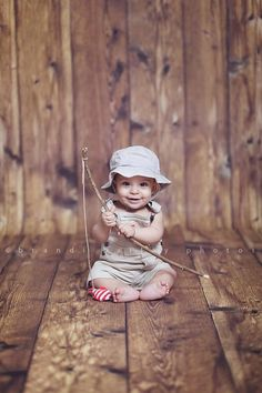 #photographyprop stick fishing pole with fabric fish, fishing hat