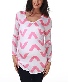This PinkBlush Maternity Pink Open-Back Chevron Maternity Top by PinkBlush Maternity is perfect! #zulilyfinds