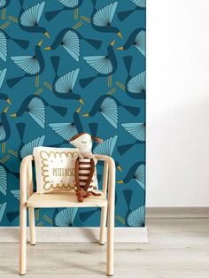 Birds Blue Wallpaper - Zina Lahrichi x- Papier peint Oiseaux bleu – Zina Lahrichi x Blue Bird wallpaper – Zina Lahrichi x Emotion ZINA LAHRICHI – Photo - Pinterest Baby, Kids Bedroom, Bedroom Decor, Baby Room Colors, Bird Wallpaper, Painting Wallpaper, Photo Wallpaper, Blue Wallpapers, Home Decor Signs