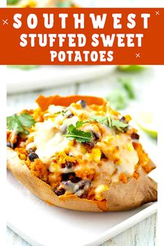 ingredients 2 large or 4 smaller sweet potatoes 1 tablespoon extra virgin olive oil 1 cup cooked black beans cup frozen sweet co. Night Dinner Recipes, Fast Dinner Recipes, Easy Chicken Dinner Recipes, Winter Dinner Recipes, Fast Recipes, Easy Meals, Fancy Potatoes Recipe, Funeral Potatoes Recipe, Stuffed Potatoes