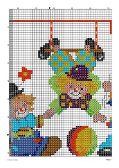 Baby Cross Stitch Patterns, Cross Stitch For Kids, Cross Stitch Baby, Cross Stitch Designs, Baby Patterns, Hama Beads Patterns, Beading Patterns, Knitting Patterns, Clowns