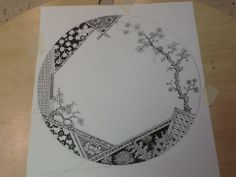 Design by David B. Kelly.  In progress drawing of an aesthetic movement inspired design for the charger plate to rest under plain white ware (Alexis by Homer Laughlin-maker of Fiesta)
