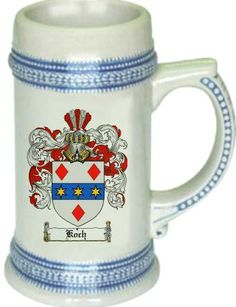 Koch Coat of Arms / Family Crest stein mug $21.99