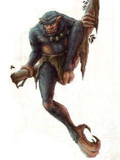 Asanbosam (Demon)(Large) – Vampiric Trolls which use their hook-like claws and feet to hold on to branches while fishing for their prey that wander under their trees. They rarely travel over land as that is very uncomfortable for them, but in the trees they are lords and masters. Their teeth and nails/hooks are made from organic iron. Asanbosam often share territory with Drop Bears and Yara's, but of all these creatures the Asanbosam often acts as the Alpha-Predator. (African)
