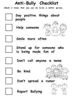 Anti-Bully Checklist from Melissas Corner on TeachersNotebook.com - (1 page) - This will help students make some good choices.