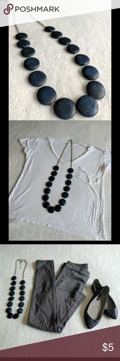 ✨Like New✨ Blue Beaded Necklace 💕Perfect Condition💕 Small error in production on the back of the one of the beads (pic 5). Styled with items from this closet (sold separately): white pocket shirt, American eagle skinny jeans and Zara flats.   🍭 Material: unsure  🍭 Length approx: 18.75in Jewelry Necklaces