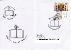 """Sobrescrito circulado de Lisboa para Estoi com carimbo de 1.º dia da série de selos """"Missões Católicas em África"""""""