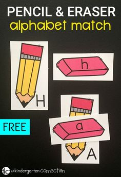 Great for the fall season and back to school, this free pencil and eraser alphabet match is great for practicing letter matching.