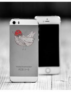Red Doodle Bird Die Cut Sticker // Woodland by JessicaAnnDesign