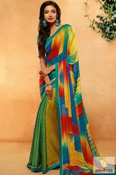New arrival multicolor crepe silk printed saree with blouse online shopping at lowest price. Shop for daily office wear casual formal sarees collection with free shipping charges in India. #saree, #causalsaree more http://www.pavitraa.in/store/casual-saree/multicolor-crepe-silk-printed-saree-with-blouse-online/