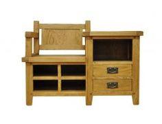 Tunstall Rustic Oak Hall Bench Hallway Storage Wood With