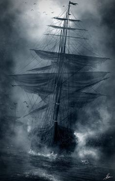 Sailing Biography When navigating the seas, Vikings used crows as navigational equipment. Crows are land lovers, and when the weather made visibility difficult, they released crows to see which direct Moby Dick, Bird In A Cage, Bateau Pirate, Old Sailing Ships, Ship Paintings, Ghost Ship, Black Sails, Sail Away, Ship Art