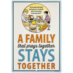 Prays Together Family Circus Embossed Tin Sign