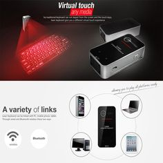 DMYCO 2016 newest Full size English QWERTY Black Laser Keyboard Wireless Bluetooth Virtual Projector for Android iOS Tablet