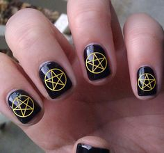 NEW  Nail Art Decals 80 Metallic Gold PENTACLE by NorthofSalem, $6.99