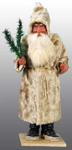 Belsnickle ~ Mohair coat, rabbit's fur beard/mustache, feather tree sprigs.