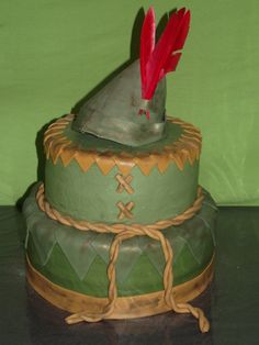 I love this cake design!  The cake topper could be the hat as shown, or it could be a Peter Pan figure.